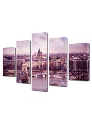 Set Tablouri Muilticanvas 5 Piese Vintage Aspect Retro Budapesta in violet