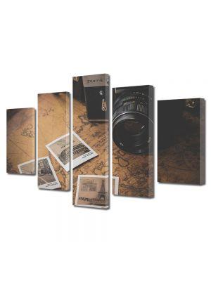 Set Tablouri Muilticanvas 5 Piese Vintage Aspect Retro Fotografii vintage