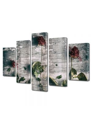 Set Tablouri Muilticanvas 5 Piese Vintage Aspect Retro Aranjament trandafiri uscati