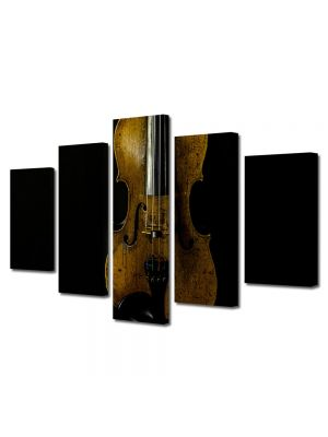Set Tablouri Muilticanvas 5 Piese Vintage Aspect Retro Vioara veche