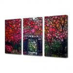 Set Tablouri Multicanvas 3 Piese Abstract Decorativ Cercuri in natura
