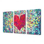 Set Tablouri Multicanvas 3 Piese Abstract Decorativ Inima