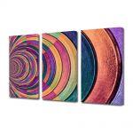 Set Tablouri Multicanvas 3 Piese Abstract Decorativ Gemulete de sticla colorata