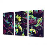 Set Tablouri Multicanvas 3 Piese Abstract Decorativ Culori vintage