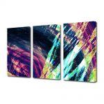 Set Tablouri Multicanvas 3 Piese Abstract Decorativ Saturat