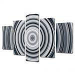Set Tablouri Multicanvas 5 Piese Abstract Decorativ Cercuri B&W