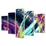 Set Tablouri Multicanvas 5 Piese Abstract Decorativ Saturat