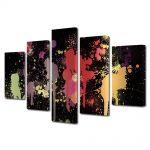 Set Tablouri Multicanvas 5 Piese Abstract Decorativ Pete de vopsea