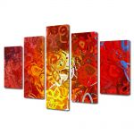 Set Tablouri Multicanvas 5 Piese Abstract Decorativ Ondulat
