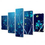 Set Tablouri Multicanvas 5 Piese Abstract Decorativ Flori