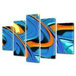 Set Tablouri Multicanvas 5 Piese Abstract Decorativ Albastru si portocaliu