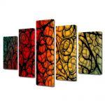 Set Tablouri Multicanvas 5 Piese Abstract Decorativ Natura