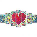 Set Tablouri Multicanvas 7 Piese Abstract Decorativ Inima