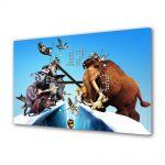 Tablou Canvas cu Ceas Animatie pentru Copii Ice Age Continental Drift, 30 x 45 cm