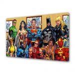 Tablou Canvas cu Ceas Animatie pentru Copii DC Comics Superheroes, 30 x 45 cm