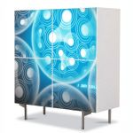 Comoda cu 4 Usi Art Work Abstract Lumini artificiale, 84 x 84 cm