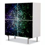 Comoda cu 4 Usi Art Work Abstract Particule, 84 x 84 cm