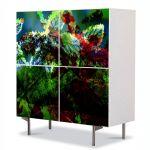 Comoda cu 4 Usi Art Work Abstract Frunze inghetate, 84 x 84 cm