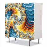 Comoda cu 4 Usi Art Work Abstract Vis colorat, 84 x 84 cm