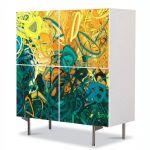 Comoda cu 4 Usi Art Work Abstract Gradina, 84 x 84 cm