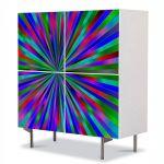 Comoda cu 4 Usi Art Work Abstract Metalic, 84 x 84 cm