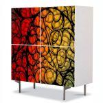 Comoda cu 4 Usi Art Work Abstract Detalii, 84 x 84 cm