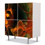 Comoda cu 4 Usi Art Work Abstract Textura portocaliu, 84 x 84 cm
