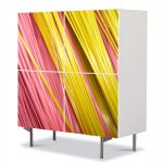 Comoda cu 4 Usi Art Work Abstract Cabluri galbene si roz, 84 x 84 cm
