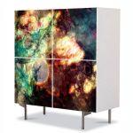 Comoda cu 4 Usi Art Work Abstract Explozie, 84 x 84 cm