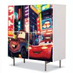 Comoda cu 4 Usi Art Work pentru Copii Animatie Filmul Cars 2 , 84 x 84 cm