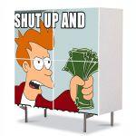 Comoda cu 4 Usi Art Work pentru Copii Animatie Taci si ia-mi banii , 84 x 84 cm