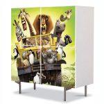 Comoda cu 4 Usi Art Work pentru Copii Animatie Madagascar 2 , 84 x 84 cm