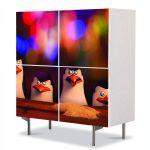 Comoda cu 4 Usi Art Work pentru Copii Animatie Pinguinii din Madagascar , 84 x 84 cm