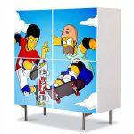 Comoda cu 4 Usi Art Work pentru Copii Animatie The Simpsons Homer si Tony , 84 x 84 cm