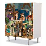 Comoda cu 4 Usi Art Work pentru Copii Animatie Toy Story 2 Personajele , 84 x 84 cm
