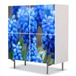 Comoda cu 4 Usi Art Work Flori Flori albastre Muscari, 84 x 84 cm