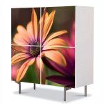 Comoda cu 4 Usi Art Work Flori Gerbera Galbena, 84 x 84 cm