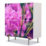 Comoda cu 4 Usi Art Work Flori Rododendron violet, 84 x 84 cm
