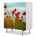 Comoda cu 4 Usi Art Work Flori Maci rosii, 84 x 84 cm