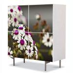 Comoda cu 4 Usi Art Work Flori Albina pe Flori Albe cu Violet, 84 x 84 cm