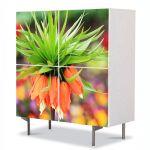 Comoda cu 4 Usi Art Work Flori Floare Exotica Bokeh, 84 x 84 cm