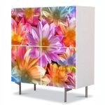 Comoda cu 4 Usi Art Work Flori Flori fantastice, 84 x 84 cm
