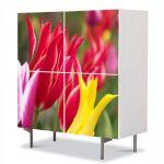 Comoda cu 4 Usi Art Work Flori Flori colorate, 84 x 84 cm