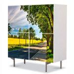 Comoda cu 4 Usi Art Work Peisaje Drum umbrit, 84 x 84 cm