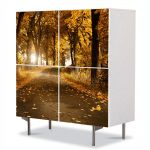 Comoda cu 4 Usi Art Work Peisaje Drum de toamna, 84 x 84 cm