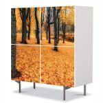Comoda cu 4 Usi Art Work Peisaje Toamna in padure, 84 x 84 cm