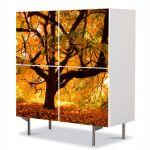 Comoda cu 4 Usi Art Work Peisaje Copac vesnic, 84 x 84 cm