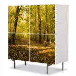 Comoda cu 4 Usi Art Work Peisaje Vine toamna, 84 x 84 cm