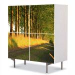 Comoda cu 4 Usi Art Work Peisaje Copaci pe marginea drumului, 84 x 84 cm