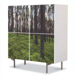 Comoda cu 4 Usi Art Work Peisaje Padure rara, 84 x 84 cm
